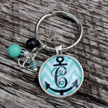 Anchor Monogram Chevron Keychain