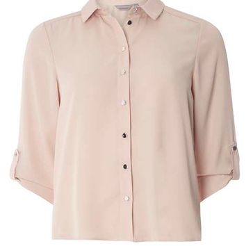 Petite Blush Roll Sleeve Shirt - Workwear - Clothing