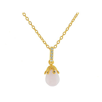 Gold Pl Sterling Silver Rose Quartz Flower Bulb Earrings and Necklace Set