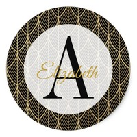 Black and Faux Gold Art Nouveau Monogrammed Classic Round Sticker