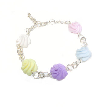 Miniature Sweet Pastel Icing Handmade Polymer Clay Charm Bracelet. Sweet Lolita Fashion, Fairy Kei, Kawaii, Cute Jewellery. Iced Gem.