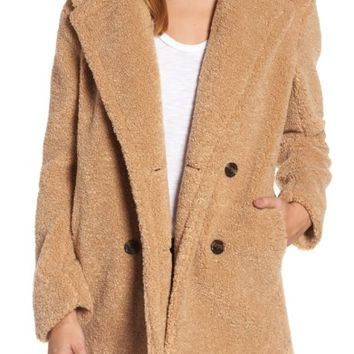 kensie Teddy Bear Notch Collar Faux Fur Coat | Nordstrom