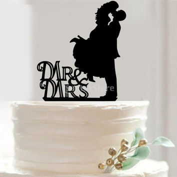 Wedding Engagement Bride & Groom Acrylic Cake Topper = 1929376772