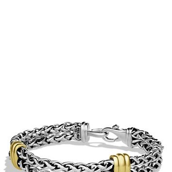 Men's David Yurman 'Cable' Two-Station Chain Bracelet with Gold - Two Tone