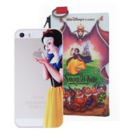 Disney's Snow White Holding Logo Clear Case For Apple Iphone + Pouch (iPhone 5 / 5s / SE, 6/6s. 6/6s PLUS)