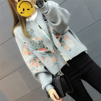 Korean version of the Spring and Autumn tide ladies short paragraph long-sleeved loose cardigan jacket embroidered baseball