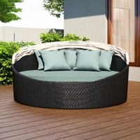 Harmonia Living Wink Outdoor Modern Wicker Daybed with Turquoise Sunbrella Cushion (SKU HL-WINK-CB-DB-SP)
