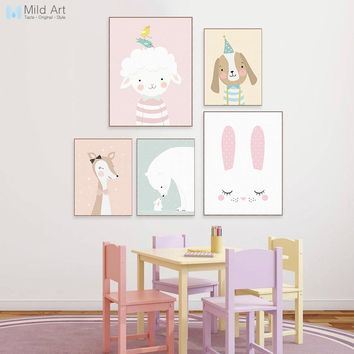 Cute Kawaii Cartoon Animal Deer Bear Rabbit Posters Nordic Wall Art Print Picture Canvas Painting Girl Baby Kids Room Home Decor