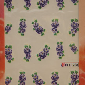 Nail art water decals Floral nail decals Water nail transfers Purple peonies