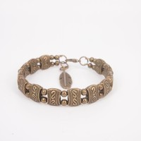 Handmade Ethnic Style Bronze Color Beaded Bangle with Feather Pendant Joint- 2 Rows Small Beads H0527