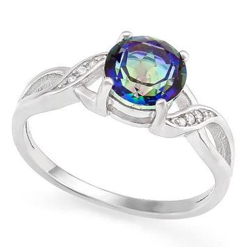 Genuine Rainbow Mystic Topaz Round Twist Sterling Silver Ring