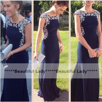 Elegant Long Navy Blue Prom Dresses 2016 Exquisite Beaded Chiffon Cap Sleeve Mermaid Prom Dress Fast Shipping Women Party Gown