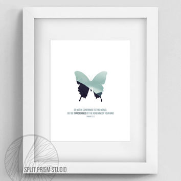 Original Wall Art, Printable Wall Art, Instant Download Art, Blue Butterfly Home Decor, Nature Photography, Minimal Home Decor, Bible Verse