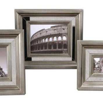 3 Picture Frames - Antiqued Silver Frame