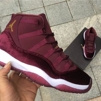 Air Jordan 11 XI Retro RL Heiress Velvet Maroon Youth SZ 9
