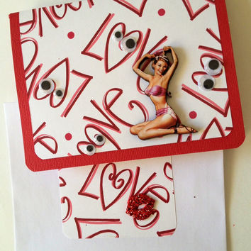 3D Vintage Pin Up Love Eyes Handmade Valentine Card