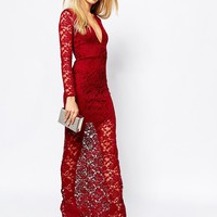 Missguided Lace Plunge Maxi Dress
