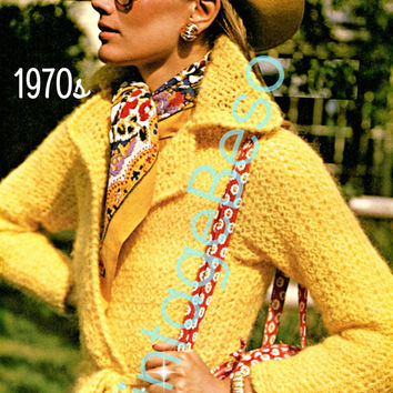INSTANT DOWNlOAD - PdF Pattern - 1970s Yellow Wrap Coat Crochet Pattern Vintage Crochet Pattern Ladies Stylish Boho