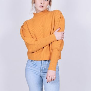 Mustard Turtleneck Balloon Sleeve Sweater