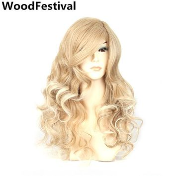 WoodFestival blond/black red curly long blonde wig with bangs synthetic hair wigs women heat resistant fiber cosplay
