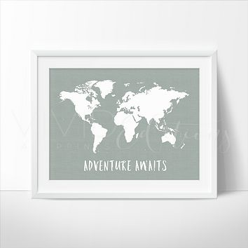 Adventure Awaits World Map, Metal