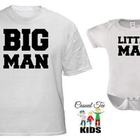 Big Man Little Man Matching Father Baby Tshirt and Baby Boy Bodysuit Father's Day