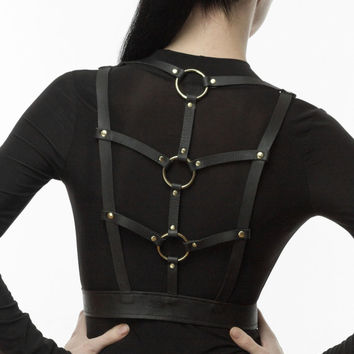 Leather Harness Belt with O-rings, Body Harness, Harness Belt, Fashion Harness, Bondage inspired