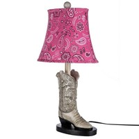 Cowgirl Boot Lamp with Pink Paisley Shade | Hobby Lobby