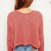 Pins & Needles Nanna Crop Jumper in Pink - Urban Outfitters