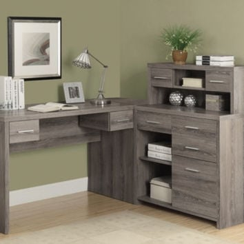 Dark Taupe Reclaimed-Look L Shaped Home Office Desk