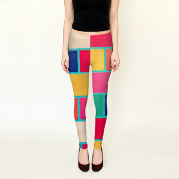 Colorful Leggings - FREE shipping to USA retro vintage look bright color colorblock blocking polyester spandec footless tights legging fun