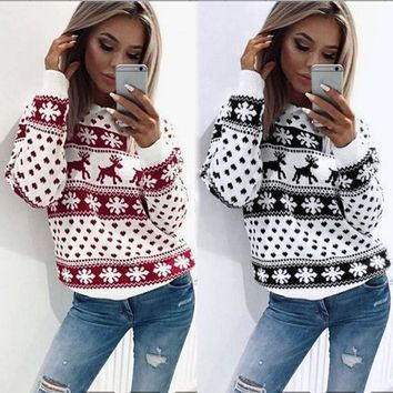 Women Xmas Christmas Floral Print Long Sleeve Blouse Top Sweatshirt