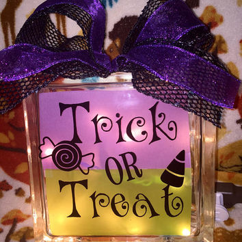 Trick or Treat Lighted Glass Block, Halloween Decor