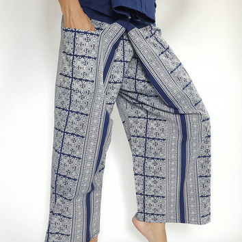 Mo Hom Phare Indigo Thai Fisherman Pants Wide Leg pants, Wrap pants, Unisex pants