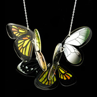 PANIKA flying wings statement necklace / laser cut perspex necklace