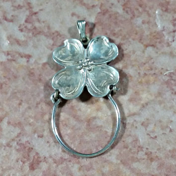 Dogwood Flower Vintage Sterling Silver Charm Holder Pendant for Necklace Chain Durability Reliability Strength Resilience Symbolism Gift It