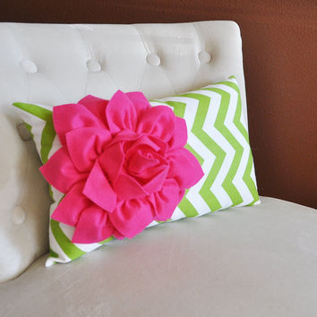 Chartreuse / Hot Pink Pillow