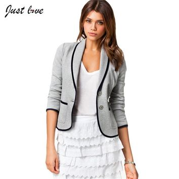 Women Blazer Single Breasted Fashion Casual Small Suit Basic Jacket 2017 New plus size Women Clothes Women Long Sleeve Blazer
