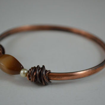 Stone Copper Bangle, Copper Bangle, Stone Bracelet, Stone Bangle, Copper Wire Wrap, Aged Copper, Antique Copper, Gender Nuetral Jewelry