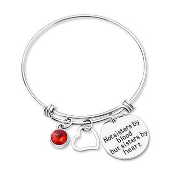 "AUGUAU Yoomarket ""Not Sisters By Blood But Sisters By Heart ""-Friendship Birthstone Adjustable Charm Bangle Bracelet Stainless Steel Women Jewelry Birthday Girls Gifts"