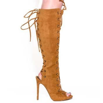 BAXTER LACE UP KNEE BOOT - TAN