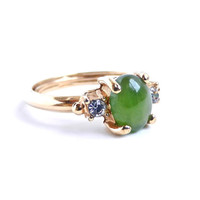Green Stone & Rhinestone Ring - Vintage Size 7- 8 Costume Jewelry / Green Fields
