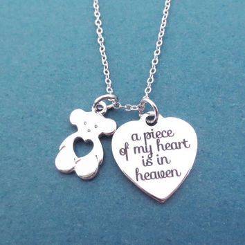 A piece of my heart is in heaven, Heart, Bear, Silver, Necklace, Baby lost, Baby loss, Consolation, Teddy bear, Miscarriage, Jewelry