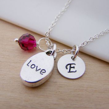 Dainty Love Charm Swarovski Birthstone Initial Personalized Sterling Silver Necklace / Gift for Her
