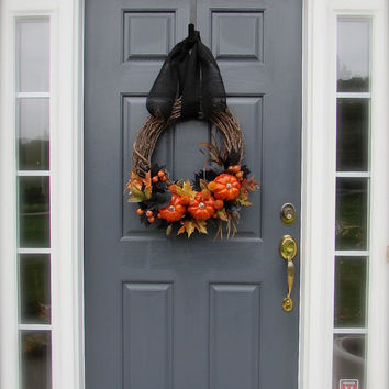 Halloween Wreath Decoration Pumpkin Wreath Witches Hat Halloween Door Wreaths Pumpkin