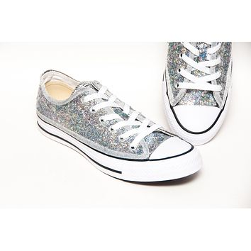 Brilliant Silver Starlight Sequin Hologram Low Top Sneakers