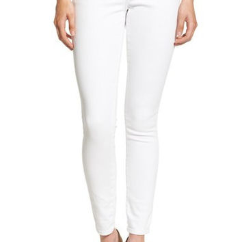 'Casey' Flap Pocket Skinny Jeans (Optic White)