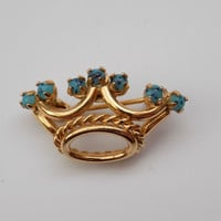 DIOR Christian Dior Vintage Crown with Turquoise Crystals. French Designer Jewellery from 60s