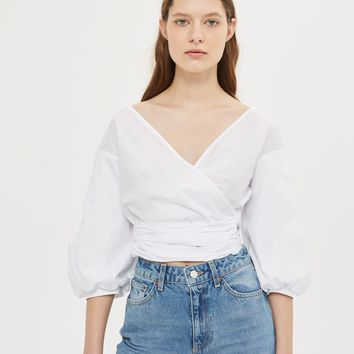 Puff Sleeve Poplin Wrap Top | Topshop