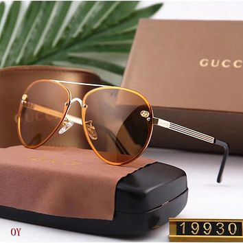 GUCCI Trending Women Men Stylish Simple Double G Sun Shades Eyeglasses Glasses Sunglasses Light Brown I12472-1